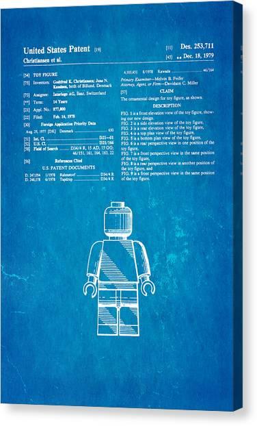 Household Canvas Print - Christiansen Lego Figure Patent Art 1979 Blueprint by Ian Monk