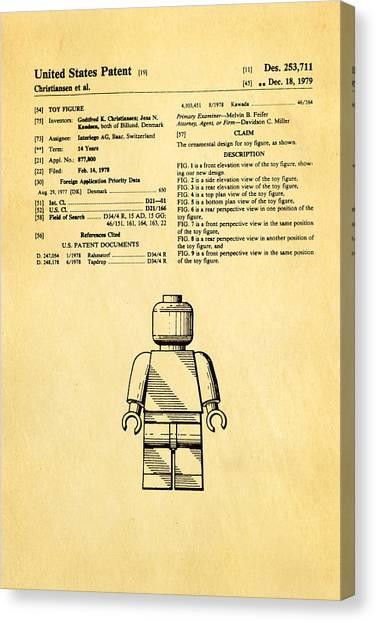 Household Canvas Print - Christiansen Lego Figure Patent Art 1979 by Ian Monk