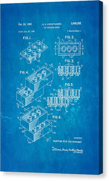 Household Canvas Print - Christiansen Lego Toy Building Block Patent Art 2 1961 Blueprint by Ian Monk