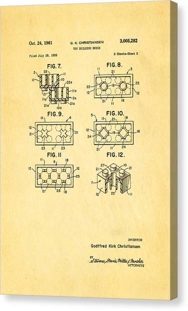 Household Canvas Print - Christiansen Lego Toy Building Block Patent Art 2 1961 by Ian Monk