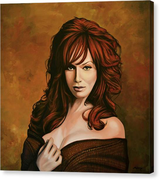 Big Red Canvas Print - Christina Hendricks Painting by Paul Meijering