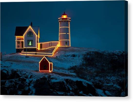 Christmas At Nubble Light Canvas Print