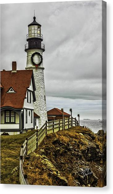 Christmas At Portland Head Light Canvas Print