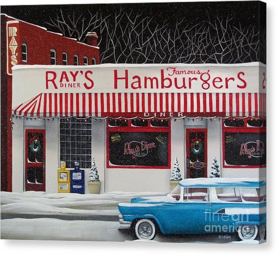 Diners Canvas Print - Christmas At Ray's Diner by Catherine Holman