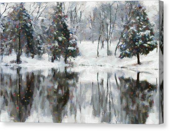 Christmas At The Pond Canvas Print