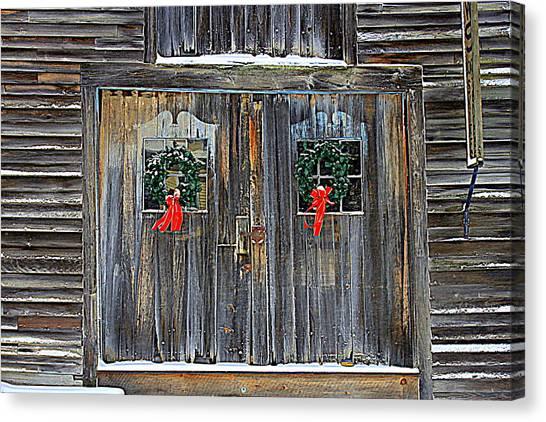 Christmas Barn Doors Canvas Print