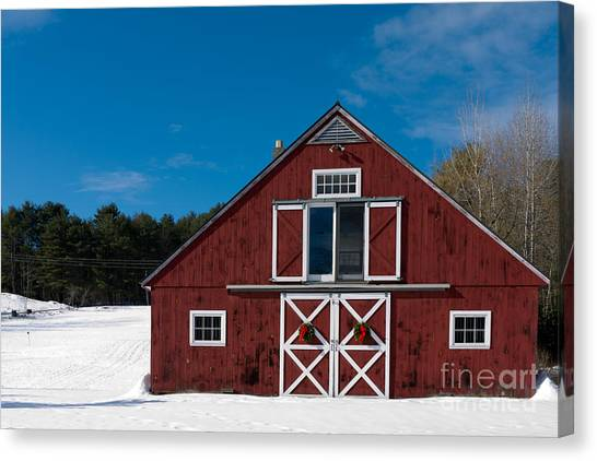 Wreath Canvas Print - Christmas Barn by Edward Fielding
