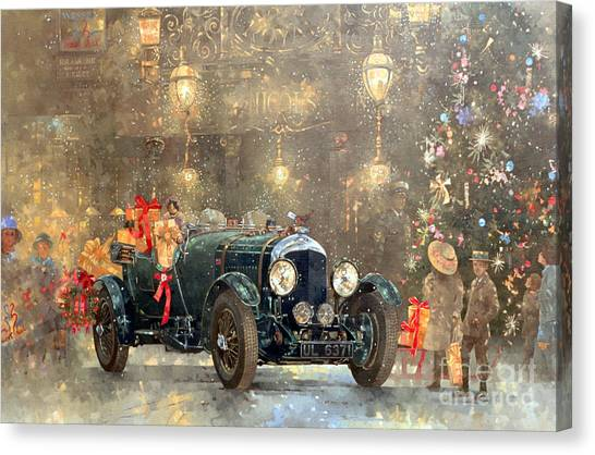 Automobiles Canvas Print - Christmas Bentley by Peter Miller