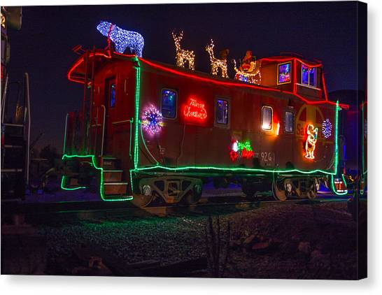 Old Caboose Canvas Print - Christmas Caboose  by Garry Gay