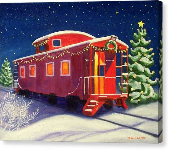 Christmas Caboose Canvas Print
