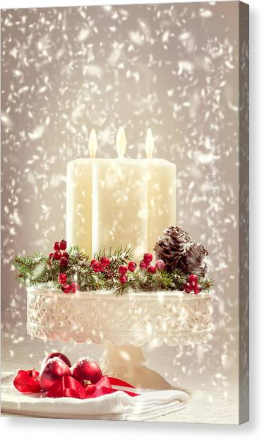 Candle Stand Canvas Print - Christmas Candles by Amanda Elwell