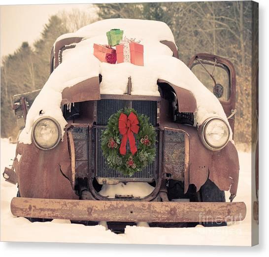 New Hampshire Canvas Print - Christmas Car Card by Edward Fielding