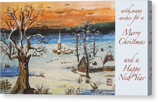 Christmas Card Painting Canvas Print