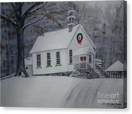 Christmas Card - Snow - Gates Chapel Canvas Print