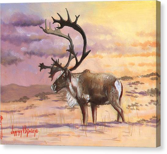 Christmas Caribou Canvas Print
