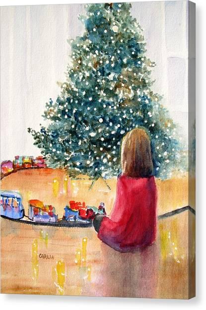 Waiting Girl Canvas Print - Christmas  by Carlin Blahnik CarlinArtWatercolor