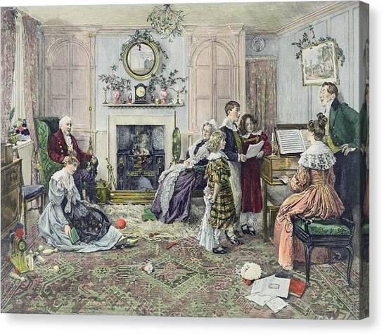 Mistletoe Canvas Print - Christmas Carols by Walter Dendy Sadler