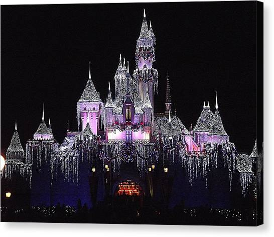 Christmas Castle Night Canvas Print
