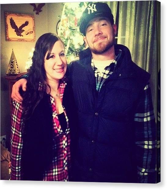 Flannel Canvas Print - Christmas Day - Flannel Twins by Jodi Jankowski