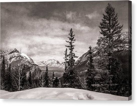 Christmas Day In Banff Bw Canvas Print