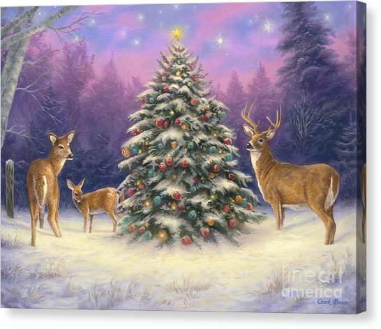 Christmas Tree Canvas Print - Christmas Deer by Chuck Pinson