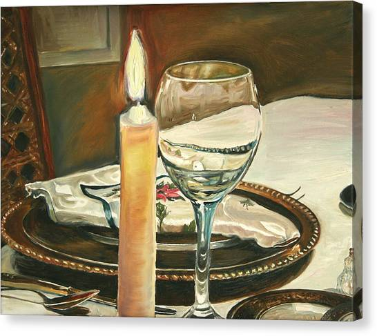 Christmas Dinner With Place Setting Canvas Print by Jennifer Lycke