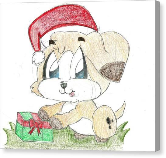 Christmas Puppy Canvas Print by Raquel Chaupiz