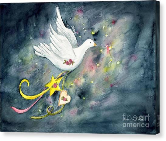 Christmas Dove In Flight Canvas Print