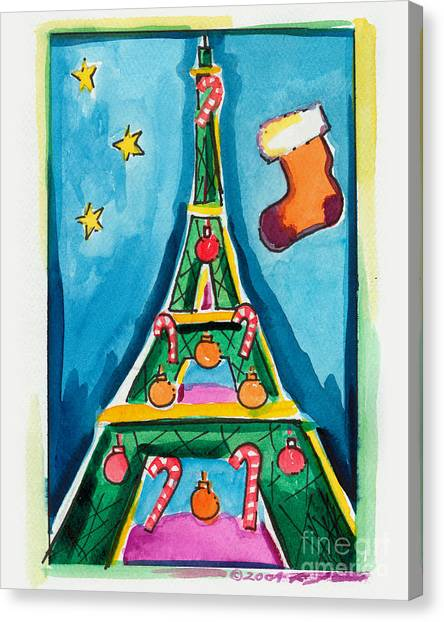 Christmas Eiffel Tower Painting Canvas Print