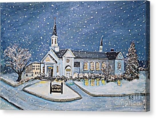 Christmas Eve At St. Jude Church Canvas Print