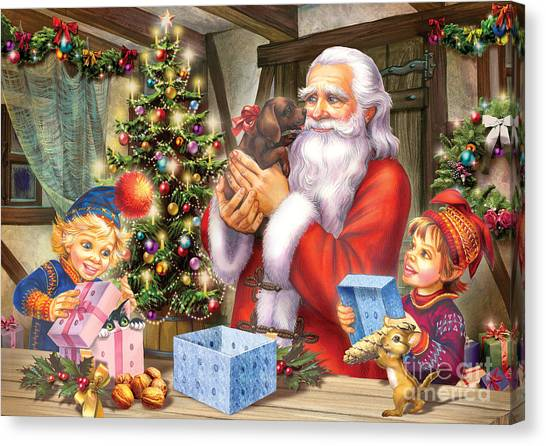 Mistletoe Canvas Print - Christmas Eve by Zorina Baldescu
