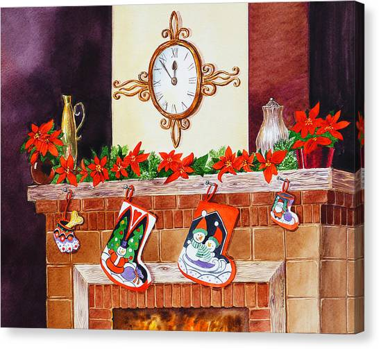 Irina Canvas Print - Christmas Fireplace Time For Holidays by Irina Sztukowski