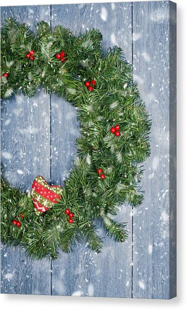 Wreath Canvas Print - Christmas Garland by Amanda Elwell
