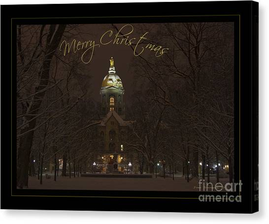 Notre Dame University Canvas Print - Christmas Greeting Card Notre Dame Golden Dome In Night Sky And Snow by John Stephens