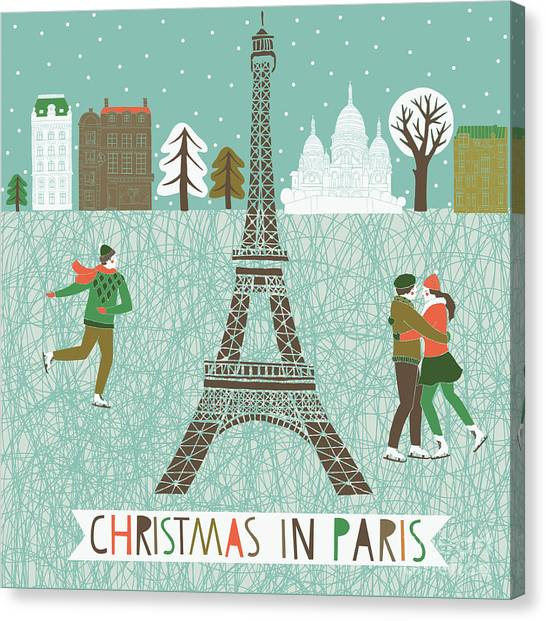 Couples Canvas Print - Christmas In Paris Print Design by Lavandaart