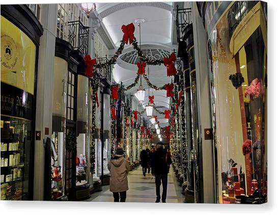 Christmas In Piccadilly Arcade Canvas Print