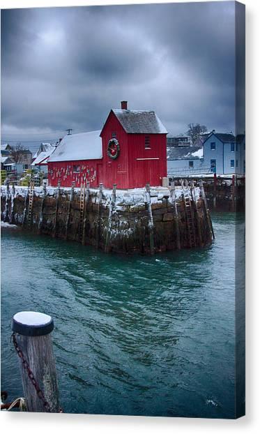 Christmas In Rockport Massachusetts Canvas Print
