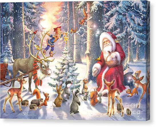 Reindeer Canvas Print - Christmas In The Forest by Zorina Baldescu