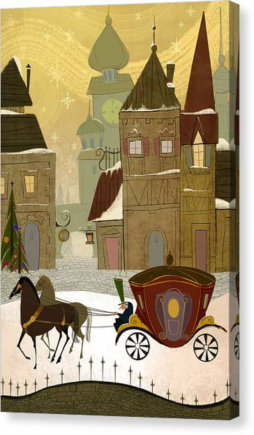 Carriage Canvas Print - Christmas In The Old World by Kristina Vardazaryan