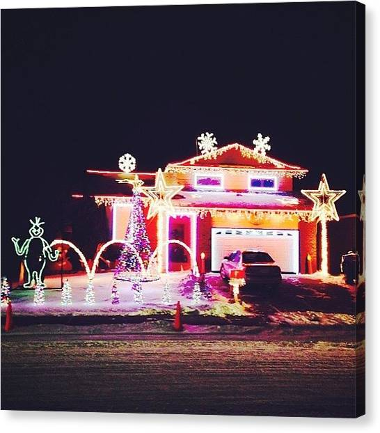 Grinch Canvas Print - Christmas Lights Calgary #calgary by Avril O