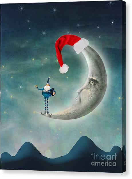 Surreal Digital Art Canvas Print - Christmas Moon by Juli Scalzi
