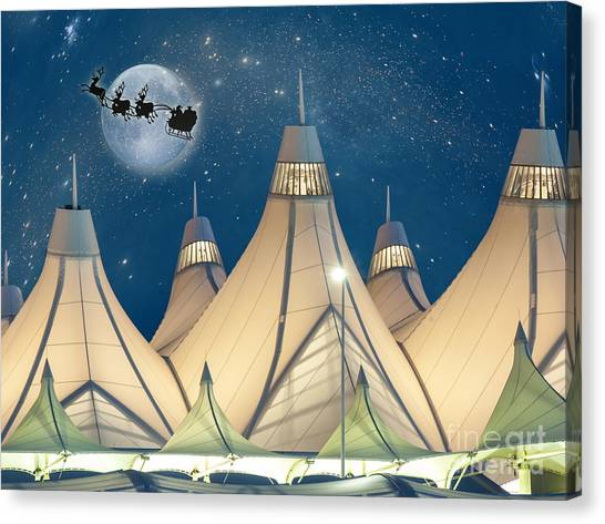 Christmas Night At Denver International Airport Canvas Print