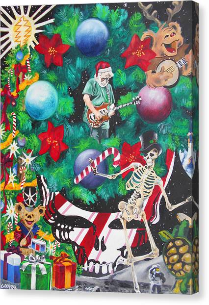 Santa Claus Canvas Print - Christmas On The Moon by Kevin J Cooper Artwork