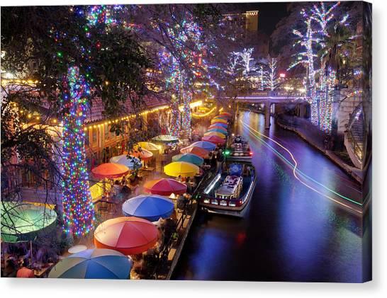 Christmas Lights Canvas Print - Christmas On The Riverwalk by Paul Huchton