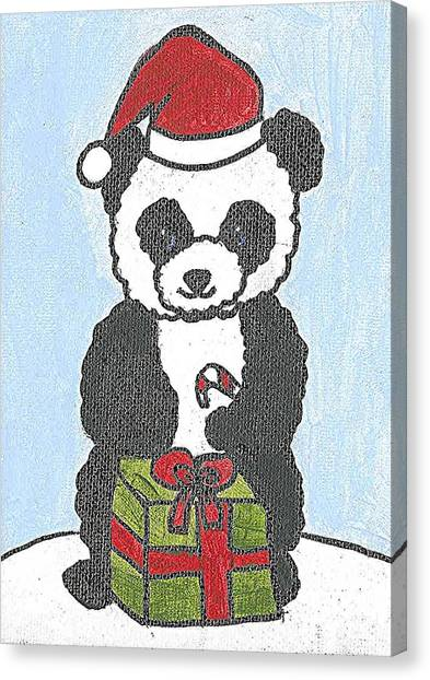 Christmas Panda Canvas Print by Fred Hanna