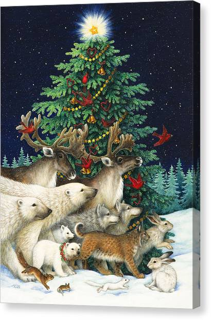Polar Bears Canvas Print - Christmas Parade by Lynn Bywaters