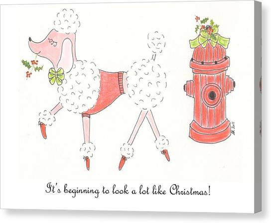 Poodles Canvas Print - Christmas Poodle by Stephanie Grant