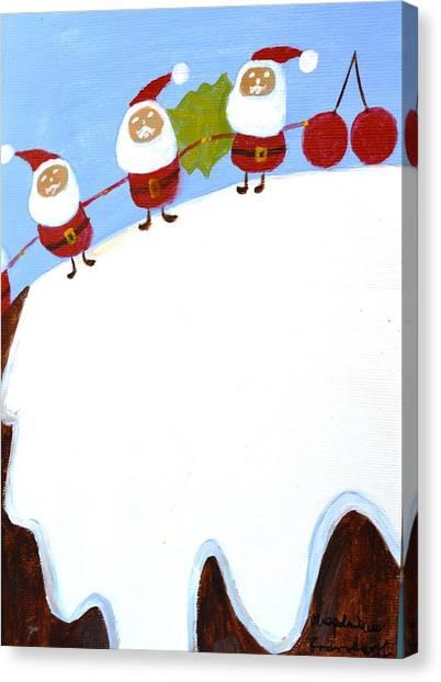 Christmas Pudding And Santas Canvas Print