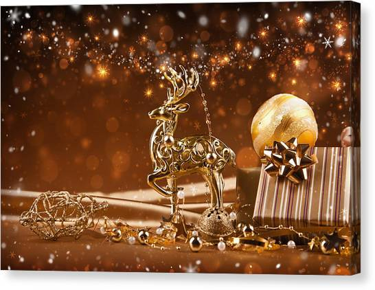 Christmas Reindeer In Gold Canvas Print