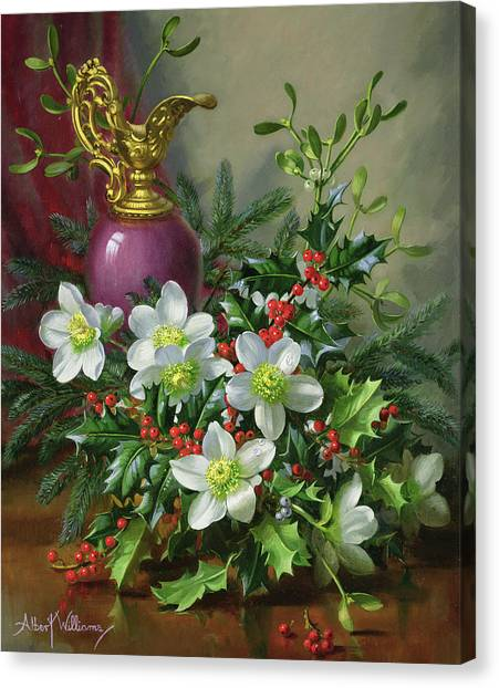 Mistletoe Canvas Print - Christmas Roses by Albert Williams
